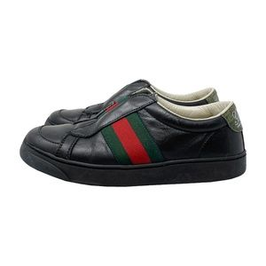 Gucci Boys Web Black Leather Slip-on Sneakers